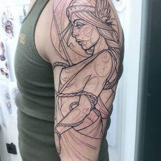 //in progress/first round// #tattoo #ink #inked #customtattoo #lines #linework #mythology #nordic #goddess #freya #katiberinkey @piranhatattoostudios