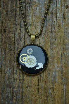 Black Clockwork Pendant on Etsy, £16.19