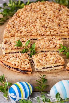Mazurek z polewą z orzechów włoskich Polish Recipes, Polish Food, Easter Recipes, Easter Food, Pasta Salad, Sweet Recipes, Risotto, Cheesecake, Cooking Recipes