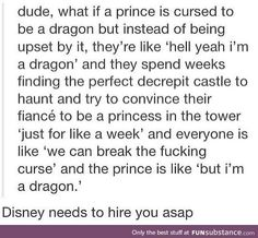 Prince gets cursed as a dragon and convinces fiancee to play captured princess!