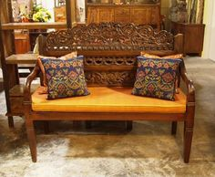 Teak Intricately Carved Indonesian Bench | Gado Gado