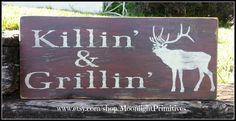 Hunting Sign Man Cave Grillin Elk Wooden by MoonlightPrimitives, $40.00