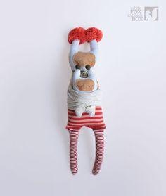 Lu Stuffed Reclaimed Fabric Doll by WhiteFoxInBlackBox on Etsy