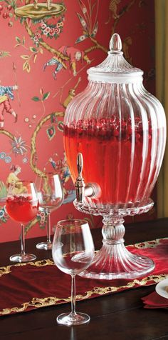 When  your cocktail matches your wallpaper... Red Chinoiserie is fabulously festive!