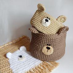 Crochet basket 488359153343731871 - Bear nursery decor, Bear basket, Crochet nursery basket, Woodland bear storage Source by Crochet Bear, Crochet Home, Hand Crochet, Cat Coasters, Crochet Storage, Frederique, Bear Nursery, Safari Nursery, Bear Decor