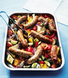 Sausages with Ratatouille: 7//17/15 A nice summer one pan sausage dish. Served with Honey Dijon Potato Salad