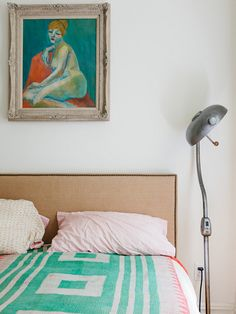 Nailhead Upholstered Headboard from West Elm. Via @Design*Sponge. Photo by Alice Gao