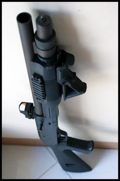Tactical Mossberg 500 - Handled one just like this at the shop the other day and it felt awesome. Give it to me in the mariners version and I'll be a happy boy! Tactical Survival, Tactical Gear, Rifles, Tactical Shotgun, Fire Powers, Home Defense, Firearms, Shotguns, Assault Rifle