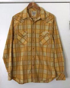 d0057f2a3e3 Lucky Brand Western Shirt Medium Yellow Plaid Pearl Snap Buttons 100%  Cotton  LuckyBrand