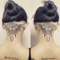 21 Trendy Mandala Tattoo Ideas for Women - crazyforus Tattoo Nape, Tatoo Neck, Undercut Tattoos, Hairline Tattoos, Scalp Tattoo, Neck Tattoo For Guys, Back Of Neck Tattoo, Up Tattoos, Sister Tattoos