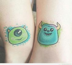 Awesome Disney Pixar Tattoos: Monsters Inc. Cousin Tattoos, Bestie Tattoo, Sibling Tattoos, Bff Tattoos, Cartoon Tattoos, Tattoos For Daughters, Small Tattoos, Cool Tattoos, Tattoo Friends
