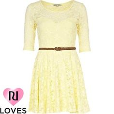 light yellow lace belted skater dress