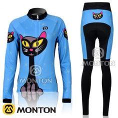 2011 Monton Blå Cats kvinder Sæt langærmet cykeltrøje + lange cykelbukser Bicycle  Clothing 59dc429ac