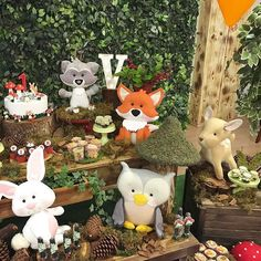Baby First Birthday, First Birthday Parties, Birthday Party Decorations, First Birthdays, Forest Party, Woodland Party, Baby Shower, Baby Party, Animal Party