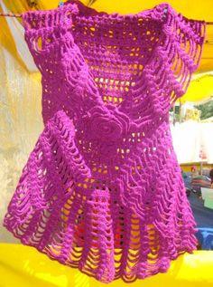 colete feminino em croche, linha