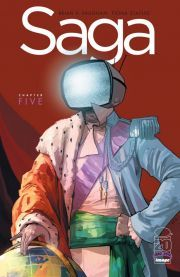Saga #5 The smash hit ongoing series from Brian K. Vaughan and Fiona Staples continues, as Prince Robot IV's hunt for Hazel and her parents takes a deadly turn.
