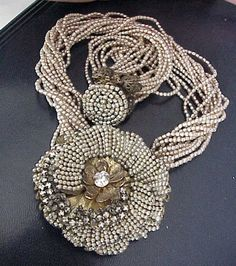 RARE 40s VINTAGE MIRIAM HASKELL FRANK HESS SEED PEARL RHINESTONE FLORAL NECKLACE