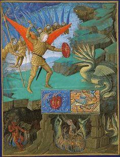 Jean Fouquet (1420+1481) L'Archange saint Michel terrassant le dragon.