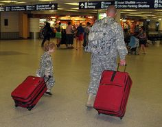 big and lil' soldier going home