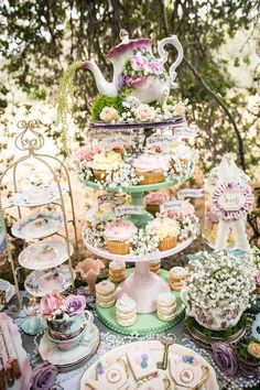 Cupcake stand from a Sweet table from a Vintage Tea Party on Kara's Party Ideas | KarasPartyIdeas.com (52)