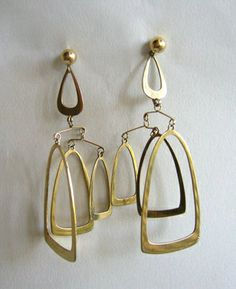 Mobile Earrings | Ruth Berridge.  Sterling silver with Gold Wash.  ca. 1960s