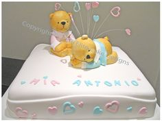 Teddies & Hearts Baby Shower Cakes Sydney, Baby Shower Cake Designs, Christening Cakes, Specialty Cakes, Teddies cake for twins