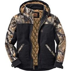 Built tough to work hard and play even harder! The heavy duty 10 oz. sanded canvas is washed down for a comfortable fit right off the bat. Features a full 120 grams of insulation, heavy duty zipper, double interior pocket and zip-off hood. Big Game™ Camo accents and embroidered logo.