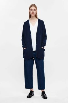 COS image 1 of Oversized wool cardigan in Sapphire