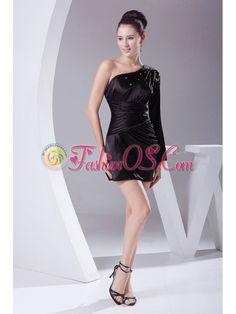 Beading Decorate One Shoulder Black Taffeta Mini-length Long Sleeve Prom / Cocktail Dress For 2013- $142.65  http://www.fashionos.com  black|one shoulder dress|short dress