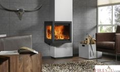 The Dik Geurts Tornado Straight is a woodburning stove with a glass viewing window on 2 sides, providing extra visual impact as well as clean-burning warmth and comfort.  The flue and flue cover for this unusual wood stove are vertically wall- mounted, creating an eye-catching design to enhance your living room. The external flue casing is available in a large selection of RAL colours to compliment you individual décor.