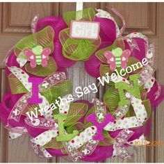 """""""It's a Girl"""" deco mesh wreath for the hospital...It will also go great on the door of the nursery @ their home. It made a great baby shower gift!"""