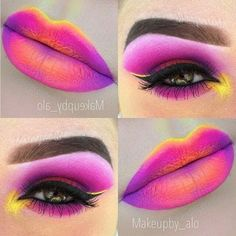 Gorgeous and vibrant magenta, yellow, and orange eyeshadow and lipstick.
