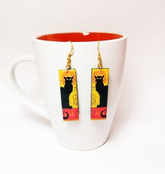 Le Chat Noir Earrings Dangle Drop Earrings by CaramelaHandmade