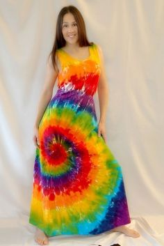 LOVE this dress!!     Tie Dye Rainbow Swirl Maxi Dress by inspiringcolor on Etsy, $48.00