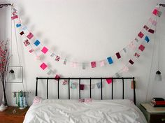 bedroom bunting - I think I should make some of this sweetness!
