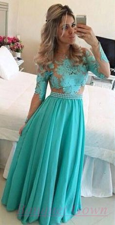 Teal Prom Dresses with Sleeves