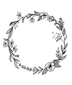 wreath floral drawing