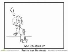the Drawing: What is he Afraid Of? Worksheets: Finish the Drawing: What is he Afraid Of?Worksheets: Finish the Drawing: What is he Afraid Of? Therapy Worksheets, Therapy Activities, Kids Worksheets, Drawing Prompt, Drawing Ideas, Drawing Drawing, Drawing Activities, School Social Work, Counseling Activities