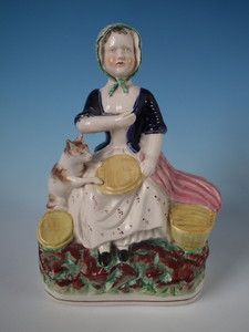 19th Century Staffordshire milkmaid with cat