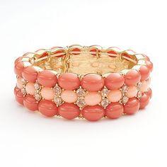$15 kohls Trifari Gold Tone Simulated Crystal Cabochon Stretch Bracelet