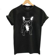 COOLMIND Lovely cotton french bulldog print t shirt women casual dog print t-shirt for girls summer women tshirt tops Cheap T Shirts, Casual T Shirts, Women's Casual, Tee Shirts, Printed Tees, Printed Cotton, Shirts For Girls, Clothes, French Bulldogs