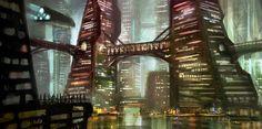 Cyberpunk, Cyber City, Future, Futuristic City, Neo Noir by ~e-mendoza on deviantART