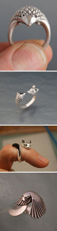 Lovely Metal Animals that Wrap Around Your Finger by Michael Tatom Cute Jewelry, Unique Jewelry, Jewelry Box, Jewelry Design, Jewelery, Jewelry Rings, Jewelry Accessories, Hedge Hog, Animal Rings