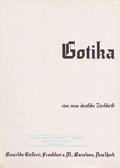 Bauer Type Foundry - Bauersche Giesserie, Frankfurt am Main - Gotika, eine neue deutsche zierschrift - title page of brochure, 1934