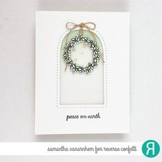 Card by Samantha VanArnhem. Confetti Cut Dies: All the Stars, Rounded Stitched Window, Joyous Holiday. Gold Glitter Paper, Van Design, Window Cards, Distress Oxide Ink, Peace On Earth, Twine, Confetti, Wreaths, Holiday