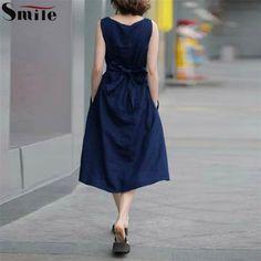 2016 New Woman Summer Sexy Elegant Fancy Chiffon Music Dresses Women Sleeveless Solid Navy Blue Knee Length Plus Size Dress