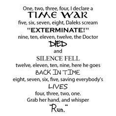 Nada melhor que Doctor Who, mas principalmente os poemas e músicas que são usadas!!!!