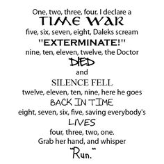 Doctor Who Poem! I want it hung up on my wall NOW