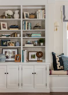 I always like to add some grasscloth or wallpaper to the backs of bookshelves- it makes everything pop on the shelves and adds warmth– sometimes huge built ins can feel a little cold. Built In Shelves, Built Ins, Book Shelves, Erin Gates, Estilo Country, Bookshelf Styling, Elements Of Style, Formal Living Rooms, Dining Rooms