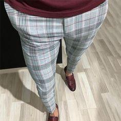 Slim-Fit Plaid Pants in Gray – brabion Mens Plaid Pants, Plaid Pants Outfit, Casual Pants, Men Casual, Casual Wear, Fashion Pants, Mens Fashion, Style Fashion, Fall Fashion
